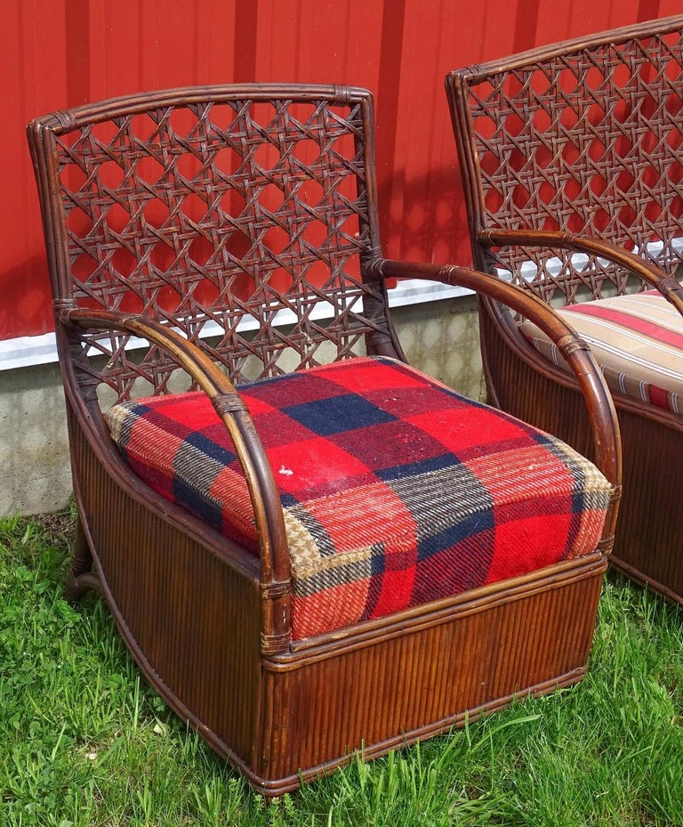 High stylish Art Deco rattan porch set including sofa and a matching arm chair. Add your own fabric and recover the seat cushions to make for a most high style and fashion chairs. Rattan, wicker, bamboo, stick wicker sofa and chair set.