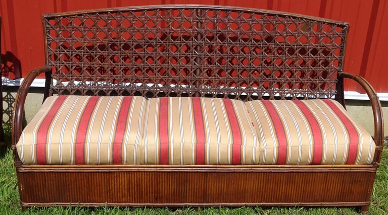 North American Rattan Art Deco Sofa and Chair Set For Sale