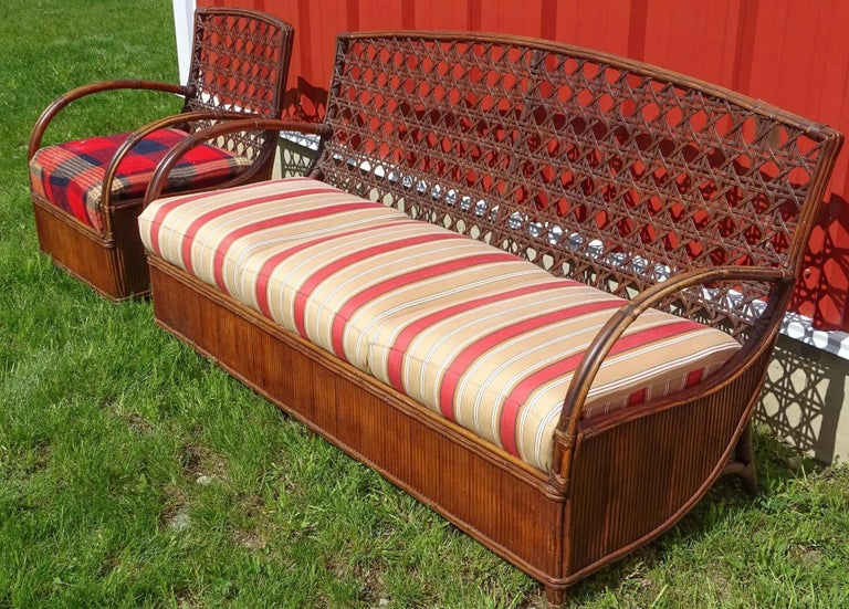 Hand-Crafted Rattan Art Deco Sofa and Chair Set For Sale