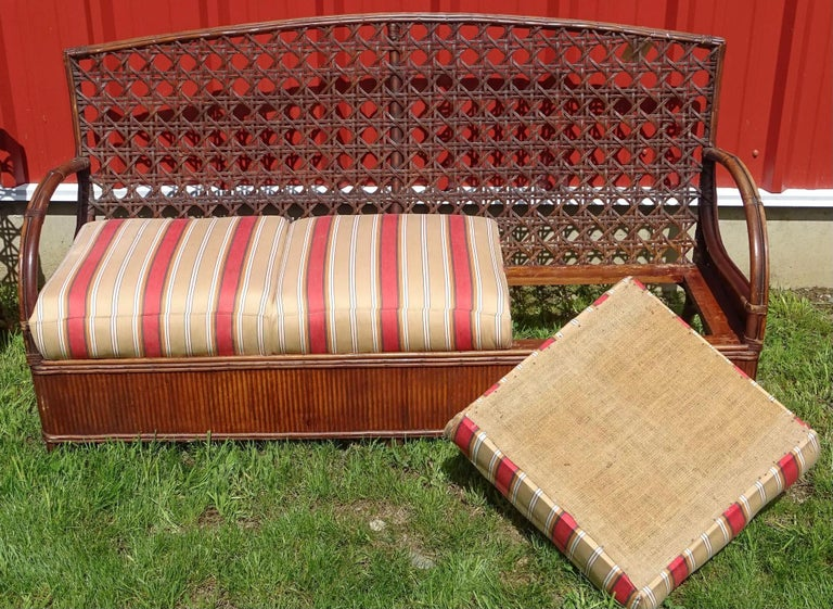 Rattan Art Deco Sofa and Chair Set In Good Condition For Sale In Great Barrington, MA