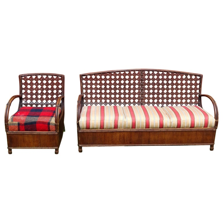 Rattan Art Deco Sofa and Chair Set For Sale