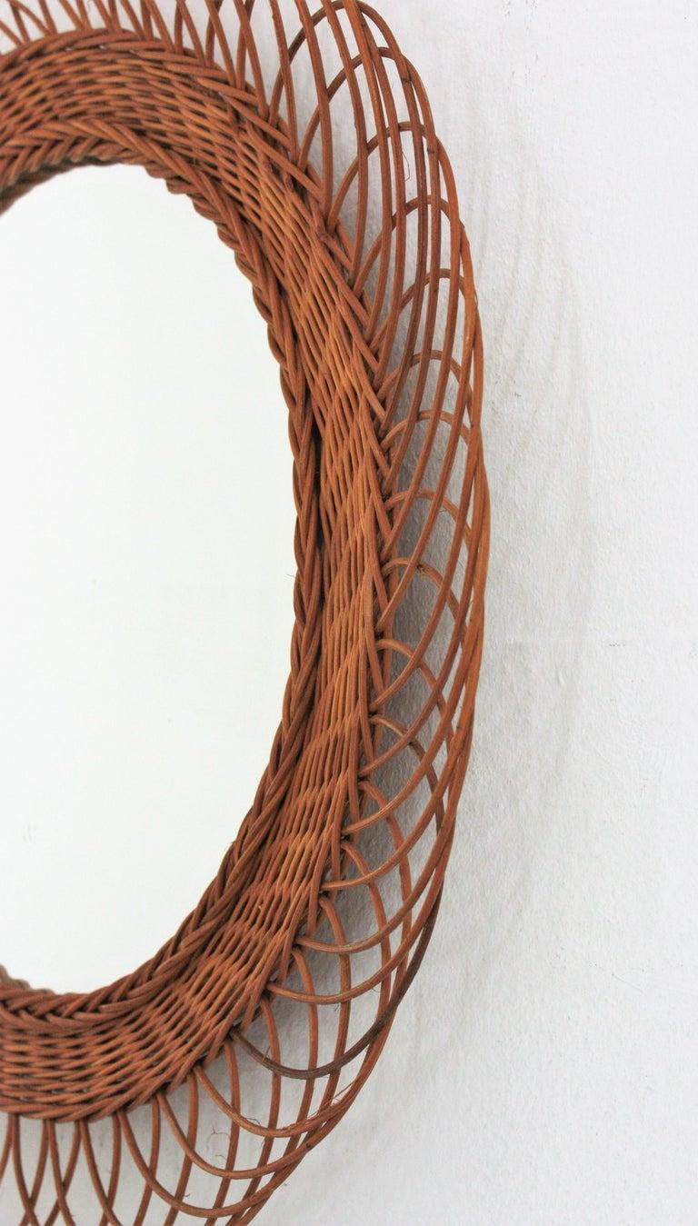 Rattan Artisan Woven Midcentury Sunburst Mirror, France, 1960s For Sale 1