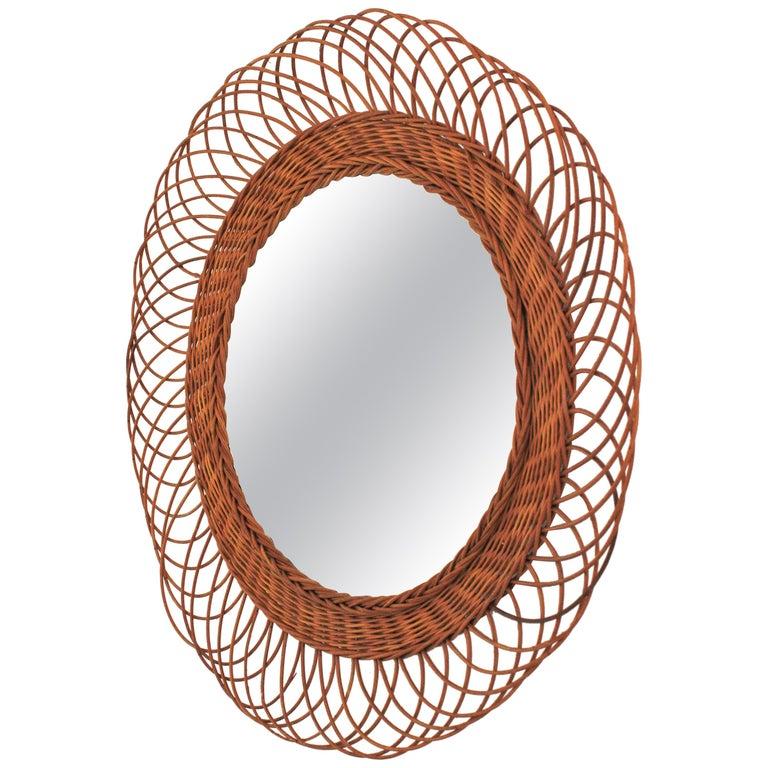 Rattan Artisan Woven Midcentury Sunburst Mirror, France, 1960s For Sale