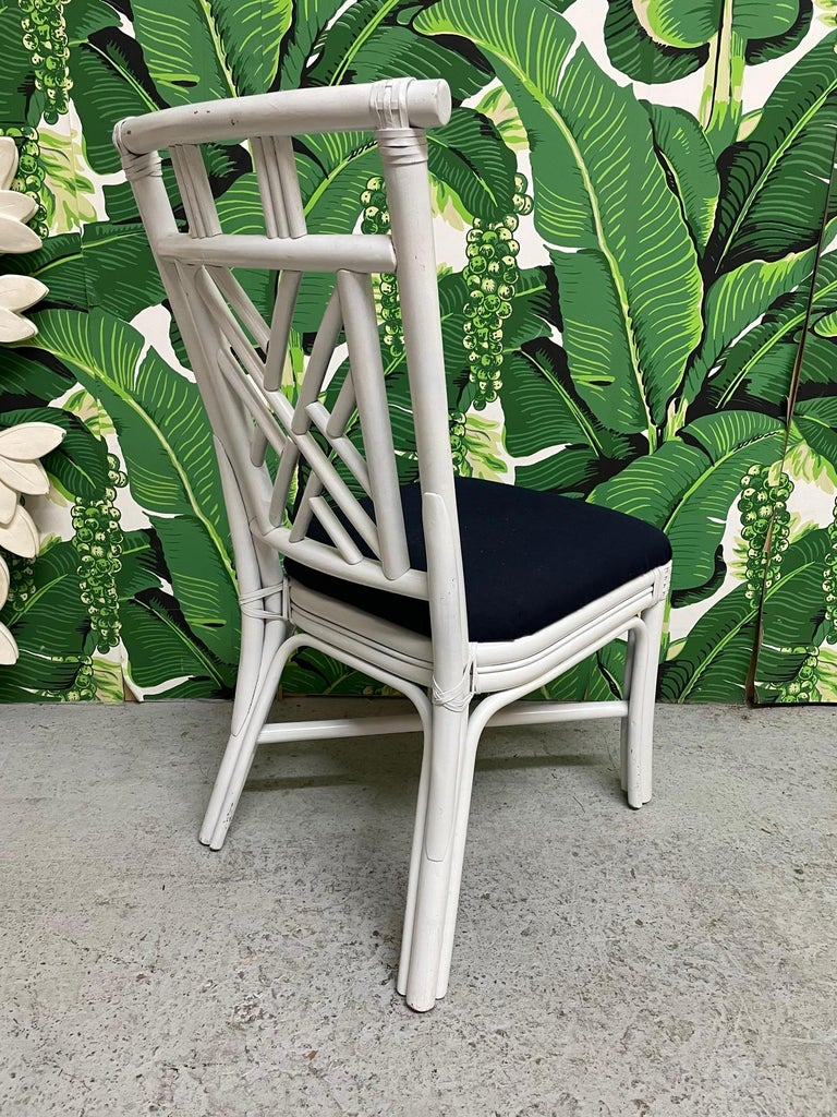 Hollywood Regency Rattan Asian Chinoiserie Dining Chairs, Set of 10 For Sale