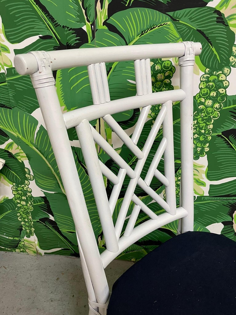 Rattan Asian Chinoiserie Dining Chairs, Set of 10 In Good Condition For Sale In Jacksonville, FL