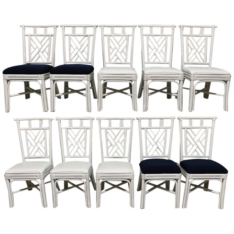 Rattan Asian Chinoiserie Dining Chairs, Set of 10 For Sale