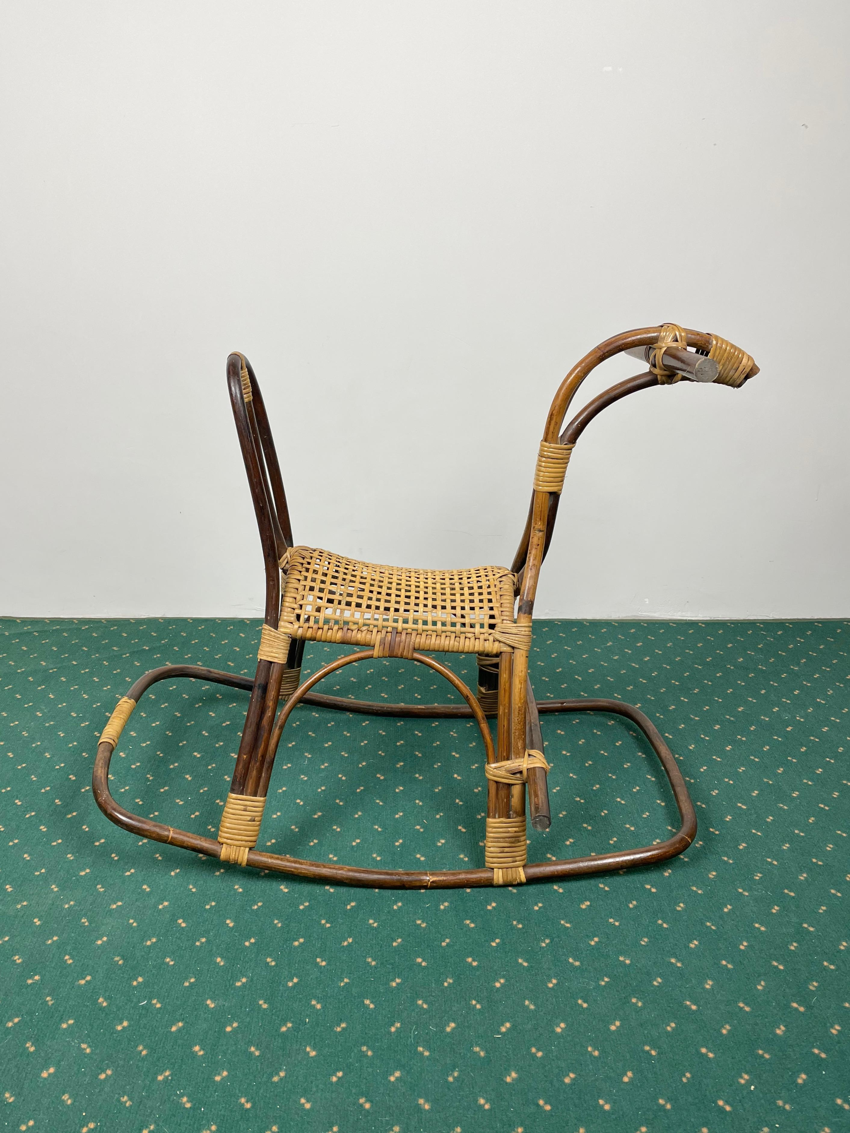 Rattan Bamboo And Wicker Rocking Horse Child S Toy Italy 1960 For Sale At 1stdibs