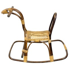 Rattan Bamboo and Wicker Rocking Horse Child's Toy, Italy, 1960
