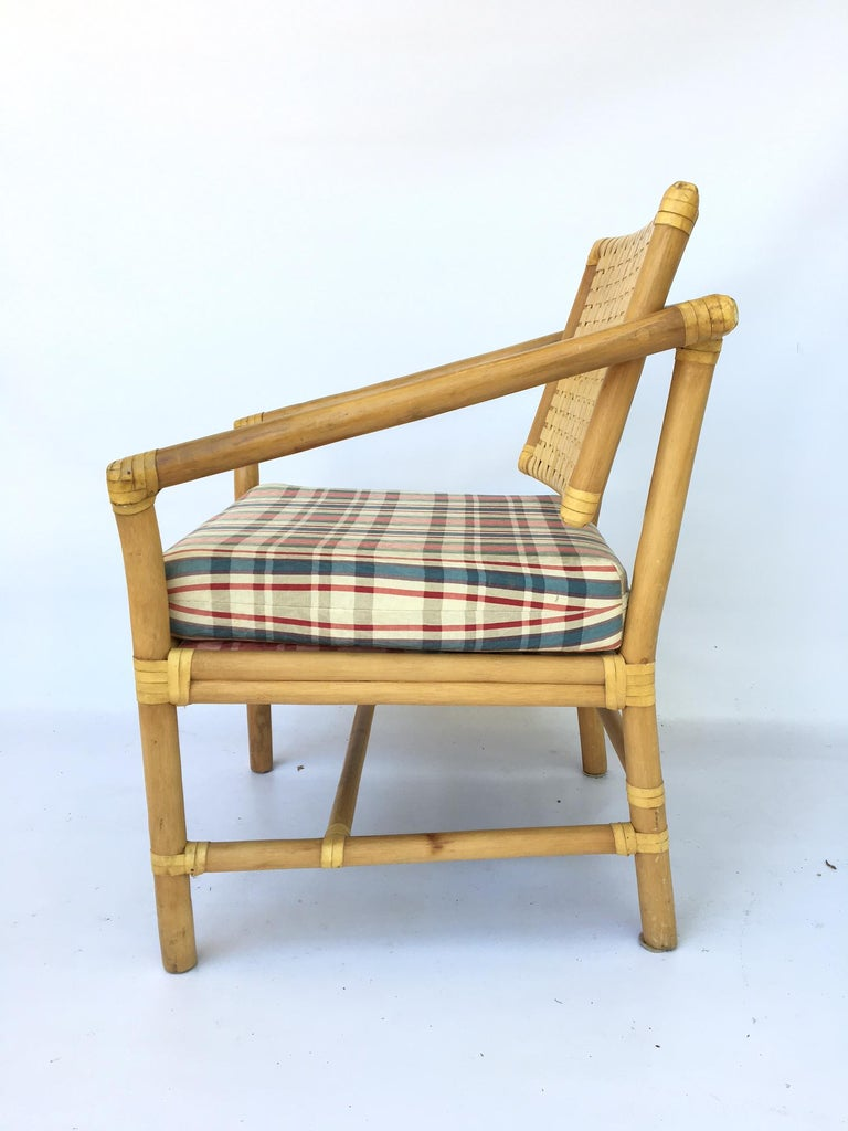 Hollywood Regency Rattan Bamboo Dining Armchairs in the Manner of Brown Jordan For Sale