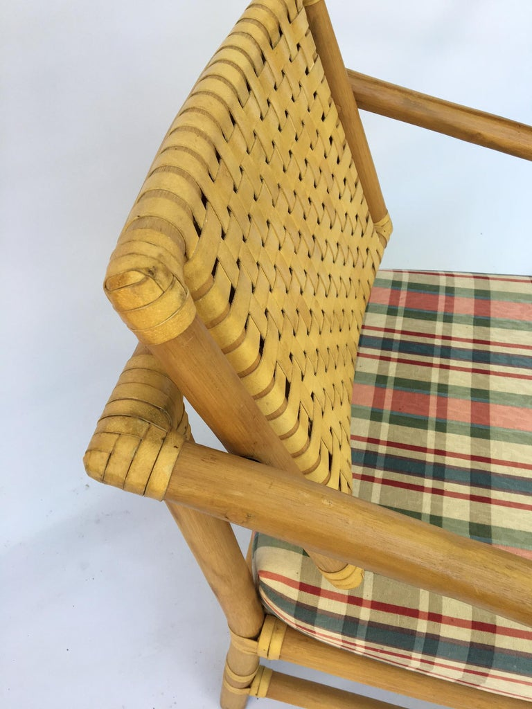 Late 20th Century Rattan Bamboo Dining Armchairs in the Manner of Brown Jordan For Sale