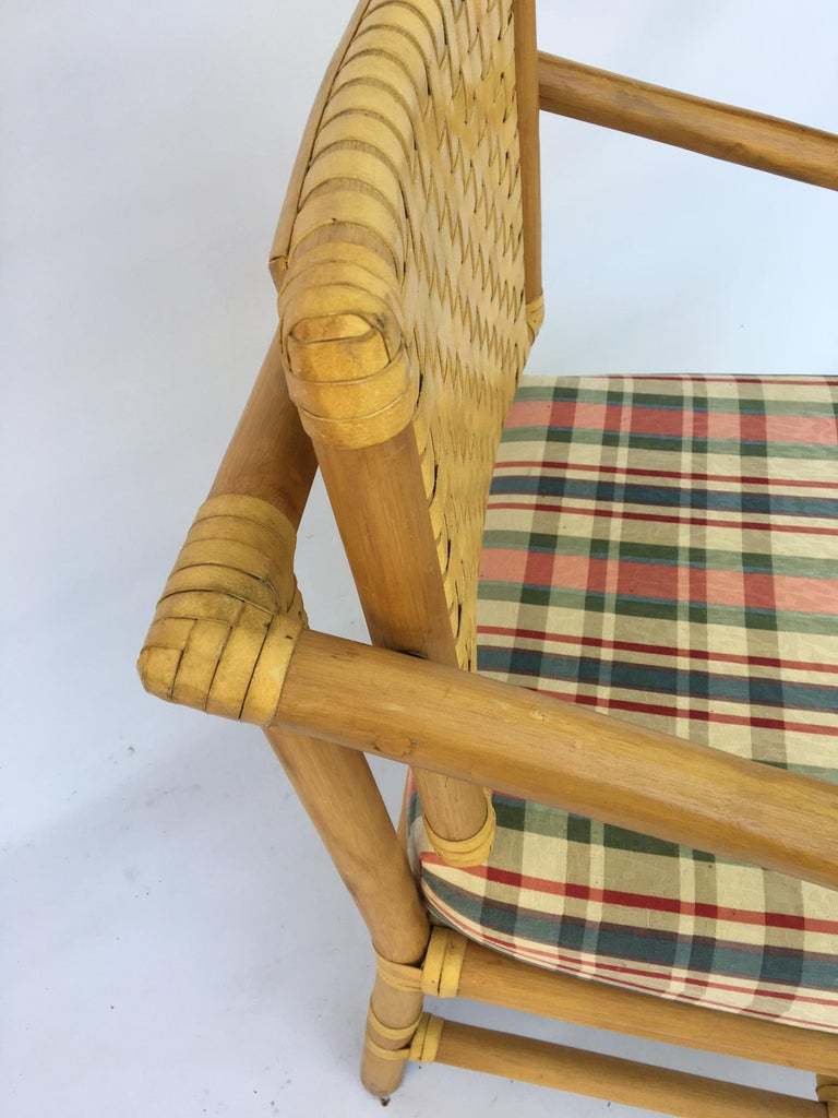 Leather Rattan Bamboo Dining Armchairs in the Manner of Brown Jordan For Sale