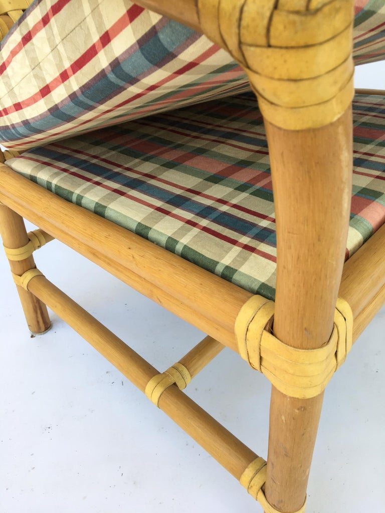 Rattan Bamboo Dining Armchairs in the Manner of Brown Jordan For Sale 2