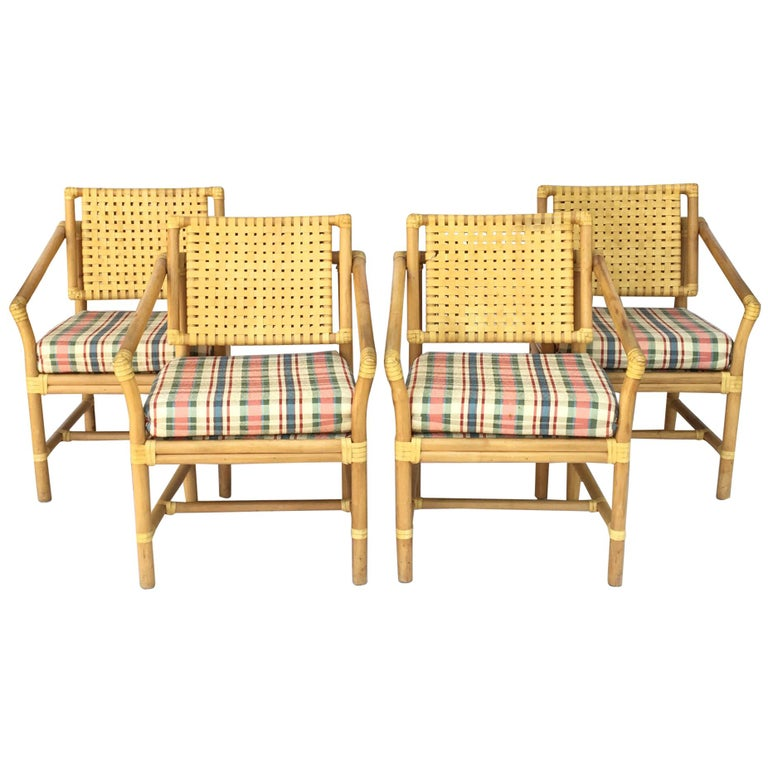 Rattan Bamboo Dining Armchairs in the Manner of Brown Jordan For Sale