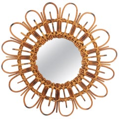 Rattan Bamboo Flower Shaped Sunburst Mirror, French Mediterranean Style, 1960s