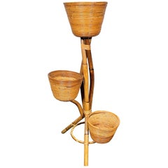 Rattan and Bamboo Flower Stand and Vases, Italy, 1960s