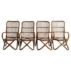 Rattan Bamboo Italian Armchairs, Tito Agnoli Bonacina Style, 1950s