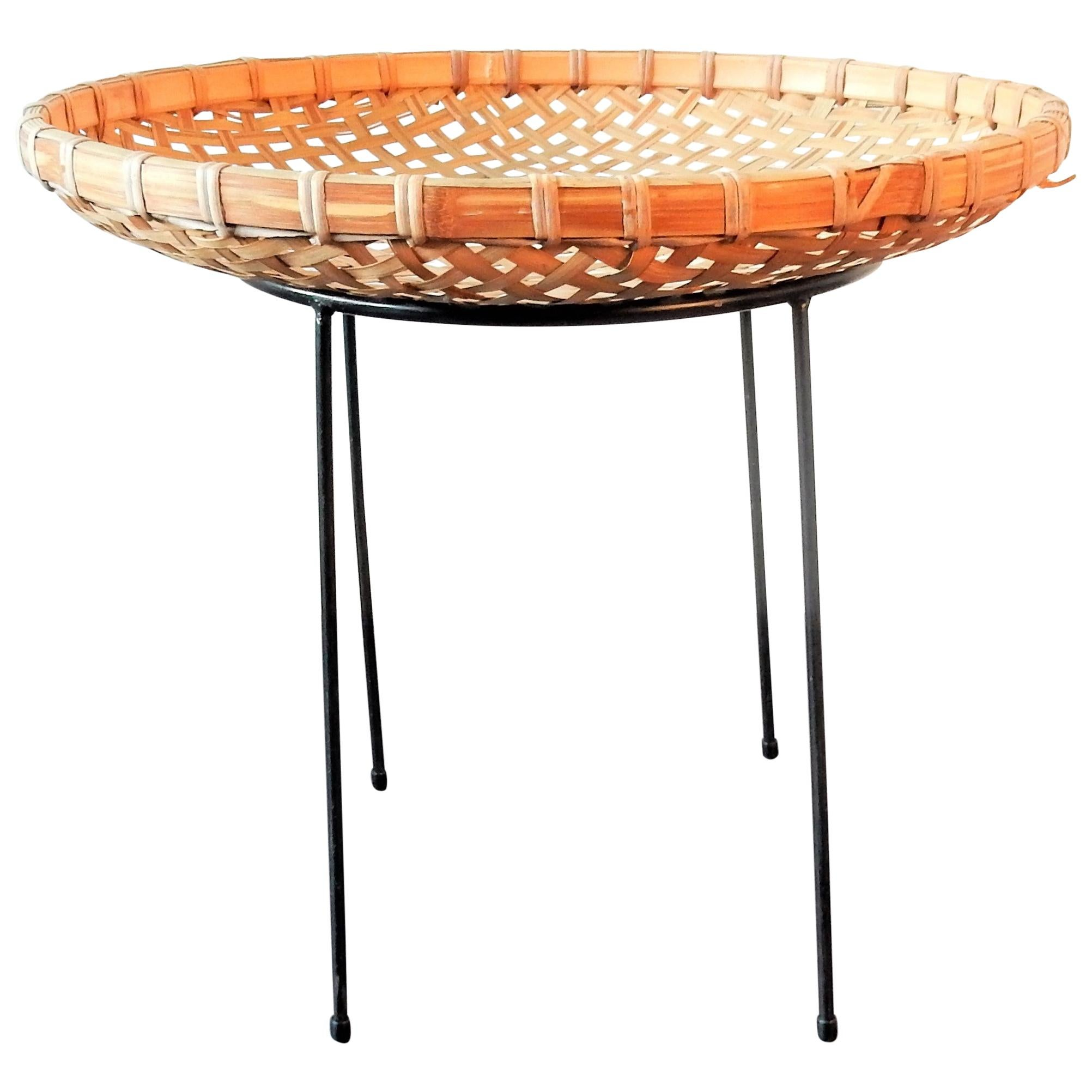 Rattan Bamboo Magazine Basket Stand by Artimeta, the Netherlands 1960s