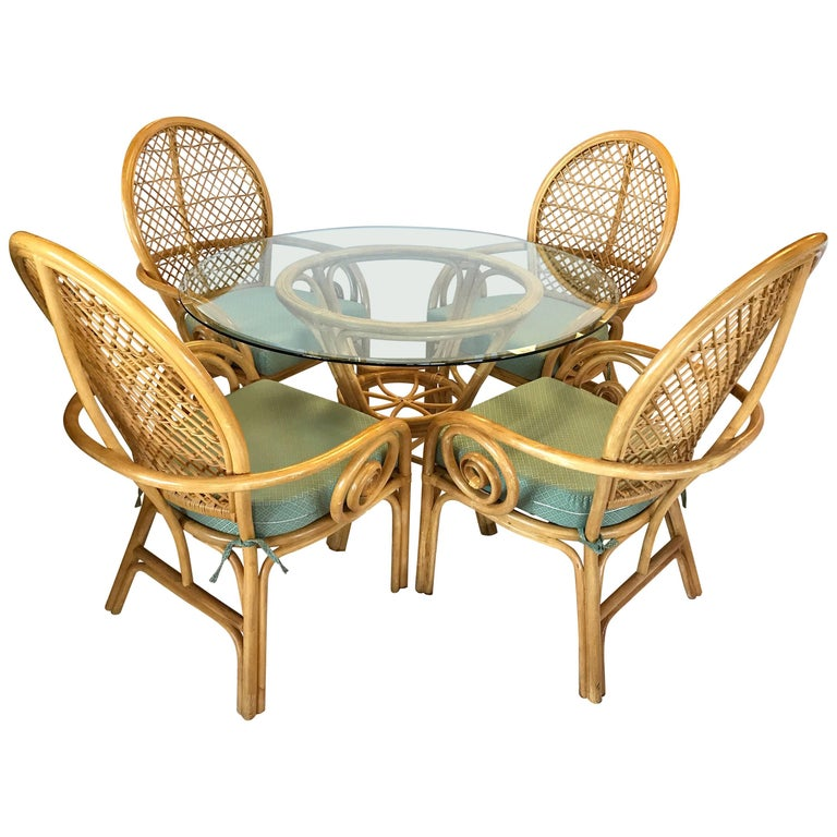 Rattan Bamboo McGuire Style Dining Set Glass Table Four