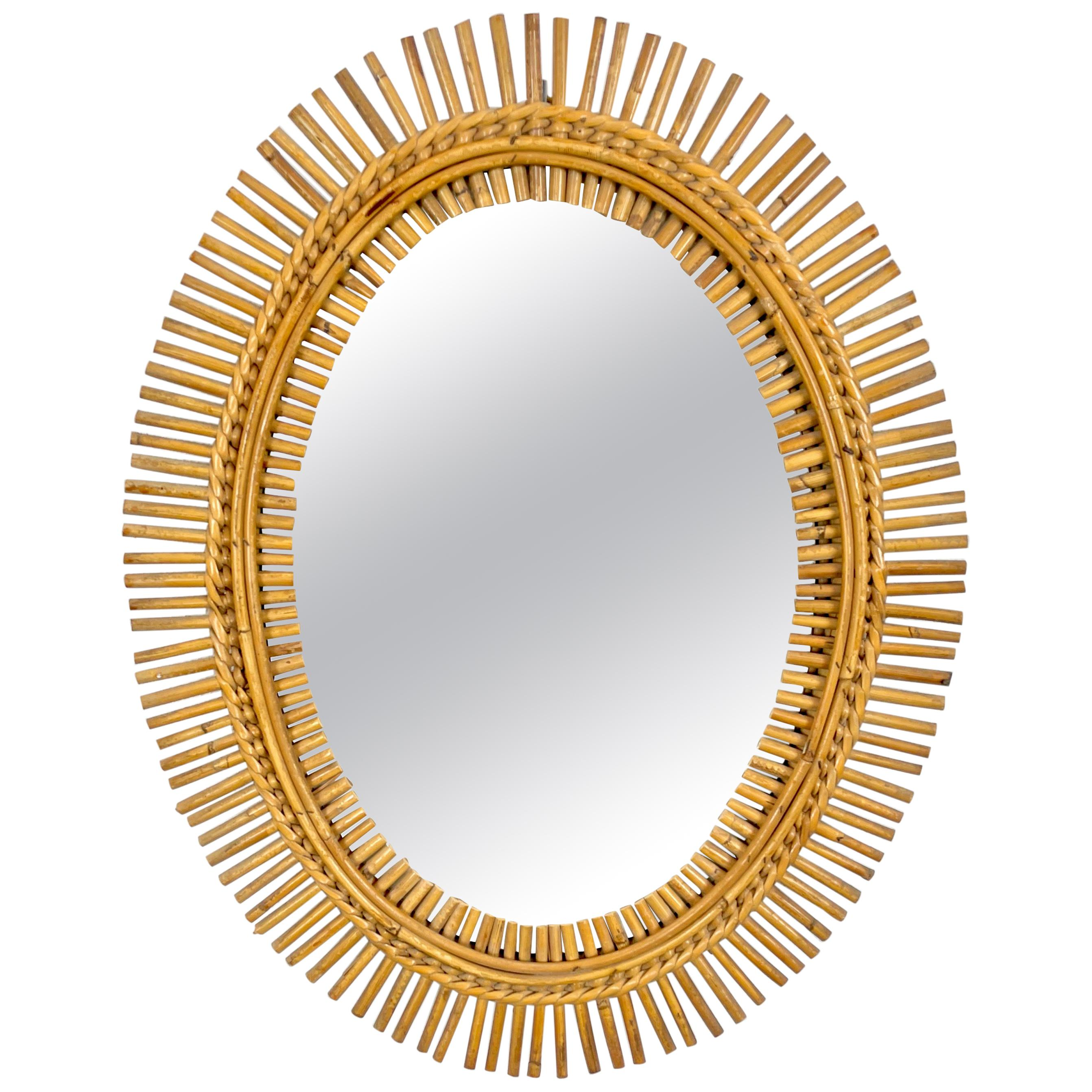 Rattan Bamboo Oval Wall Mirror, Italy, 1960s