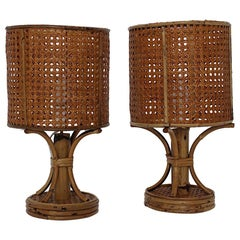 Rattan Bamboo Riviera Style Vintage Pair Table Lamps Nightstand Lamps Italy 1970