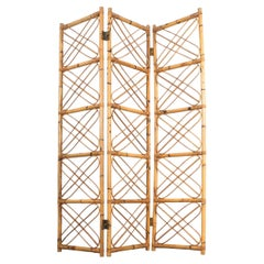 Rattan Bamboo Room Divider Screen Paravant Italy, circa 1965