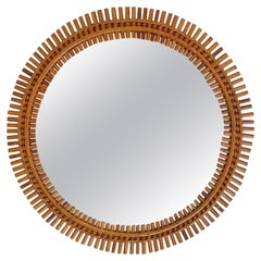 Rattan Bamboo Round Wall Mirror, Italy, 1960s