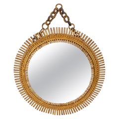 Rattan Bamboo Round Wall Mirror, Italy, 1960s
