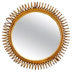 Rattan & Bamboo Round Wall Mirror, Italy, 1960s