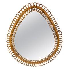 Rattan Bamboo Tear Drop Wall Mirror, Italian Riviera 1960s Franco Albini