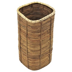Rattan and Bamboo Umbrella Stand with Faux Bamboo Brass Rim, Italy, 1970s