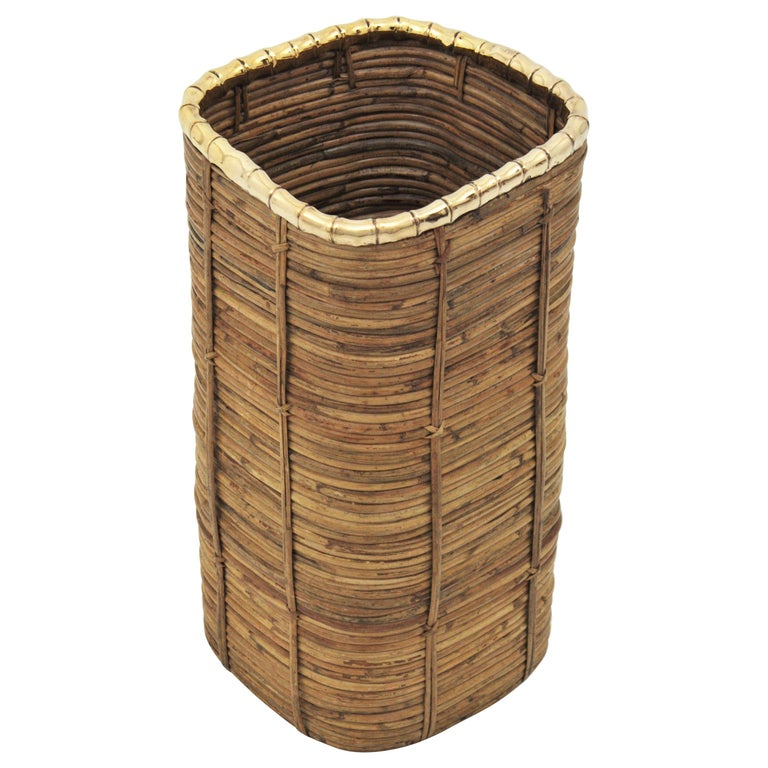 Rattan and Bamboo Umbrella Stand with Faux Bamboo Brass Rim, Italy, 1970s For Sale