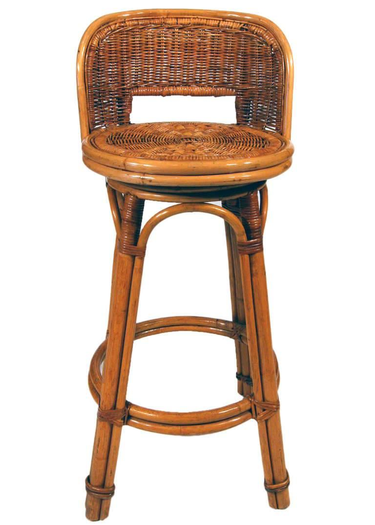 Rattan Bar Stool Pair with Woven Wicker Seats, Set of Two ...