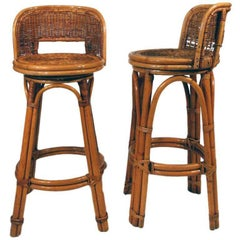 Rattan Bar Stool Pair with Woven Wicker Seats, Set of Two