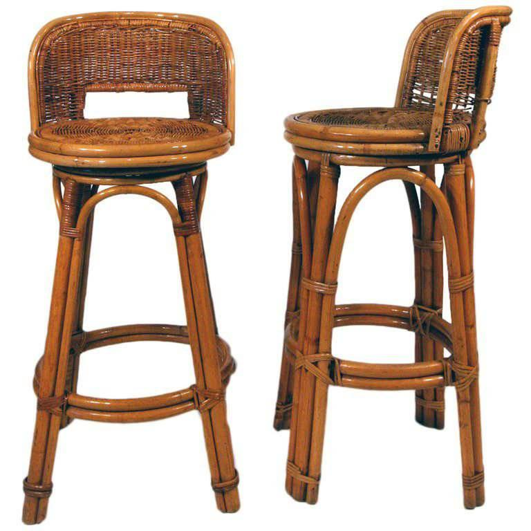 Rattan Bar Stool Pair With Woven Wicker Seats Set Of Two For Sale