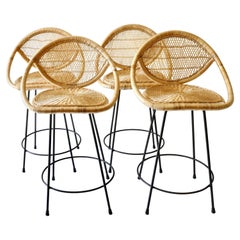 Rattan Bar Stools with Black Legs, France, 1970s