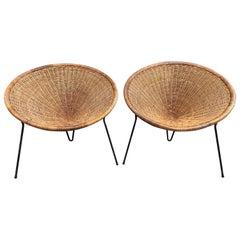 Rattan Basket Armchairs, Italy, 1950s