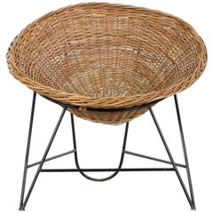 Rattan Basket Chair, Italy, 1950s