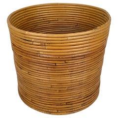 Rattan Basket Vase, Italy, 1960s
