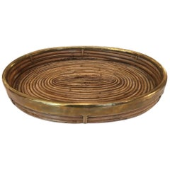 Rattan and Brass Trays in the Style of Gabriella Crespi