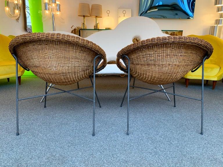 Mid-Century Modern Rattan Bucket Armchairs by Roberto Mango, Italy, 1950s For Sale