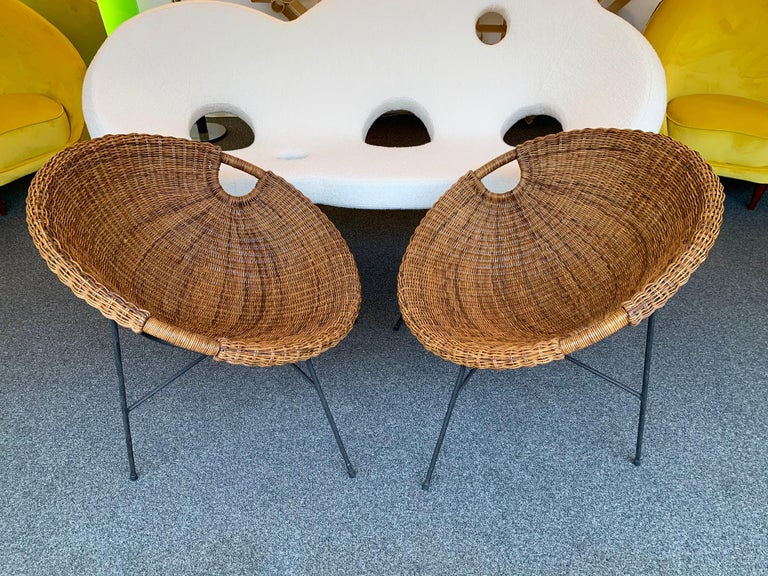 Rattan Bucket Armchairs by Roberto Mango, Italy, 1950s In Good Condition For Sale In SAINT-OUEN, FR