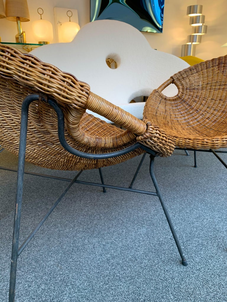 Mid-20th Century Rattan Bucket Armchairs by Roberto Mango, Italy, 1950s For Sale