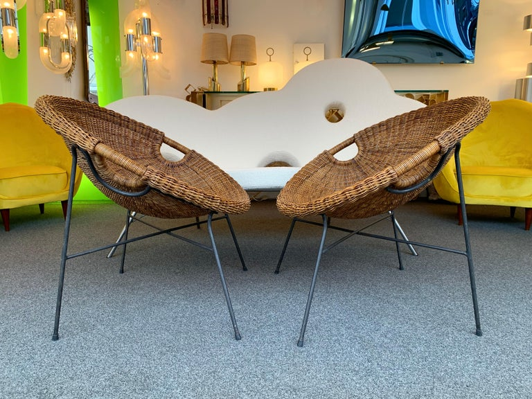Rattan Bucket Armchairs by Roberto Mango, Italy, 1950s For Sale 1