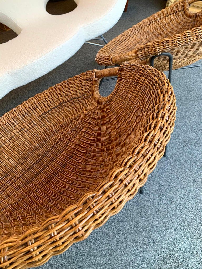 Rattan Bucket Armchairs by Roberto Mango, Italy, 1950s For Sale 2