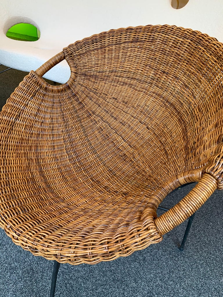 Rattan Bucket Armchairs by Roberto Mango, Italy, 1950s For Sale 3