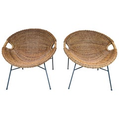 Rattan Bucket Armchairs by Roberto Mango, Italy, 1950s