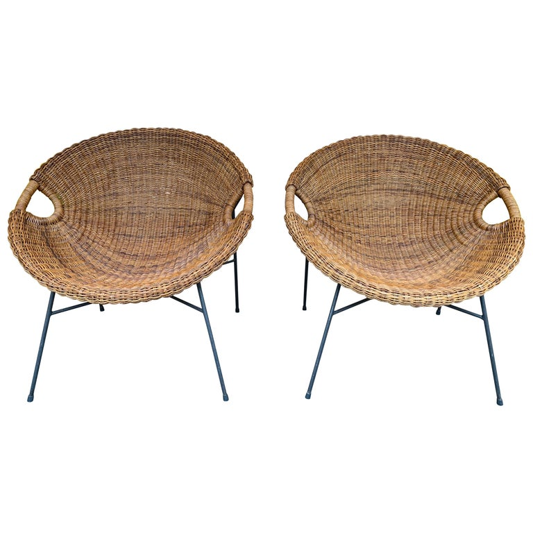 Rattan Bucket Armchairs by Roberto Mango, Italy, 1950s For Sale