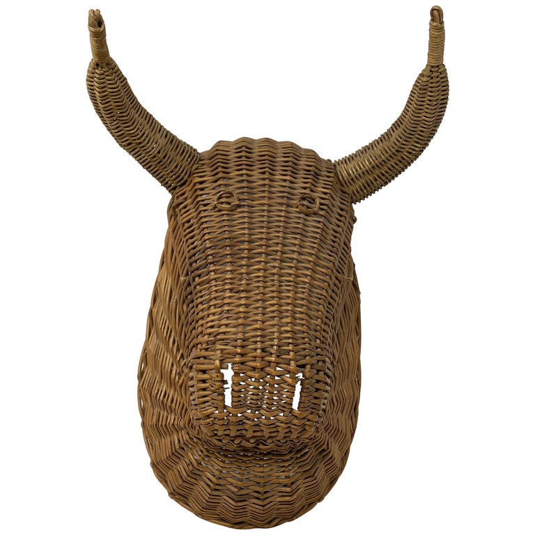 Rattan bull's head, mid-20th century, offered by Back Row Home