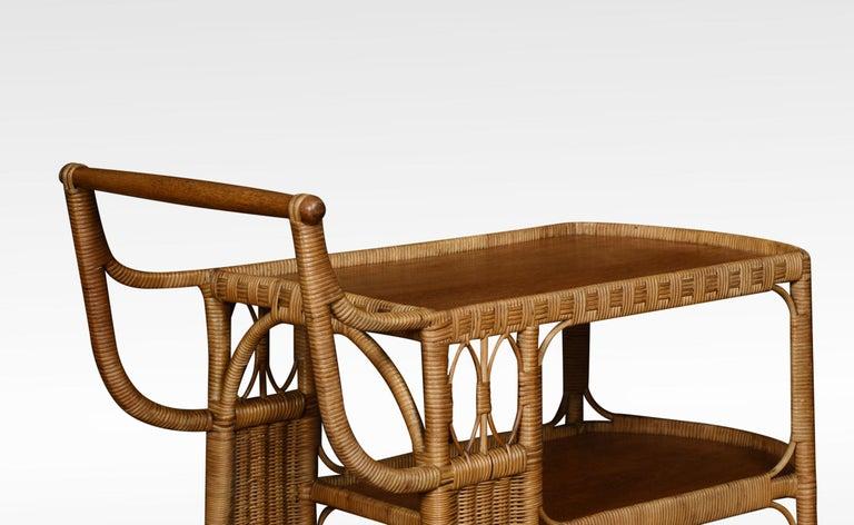 British Rattan Cane and Oak Drinks Cart