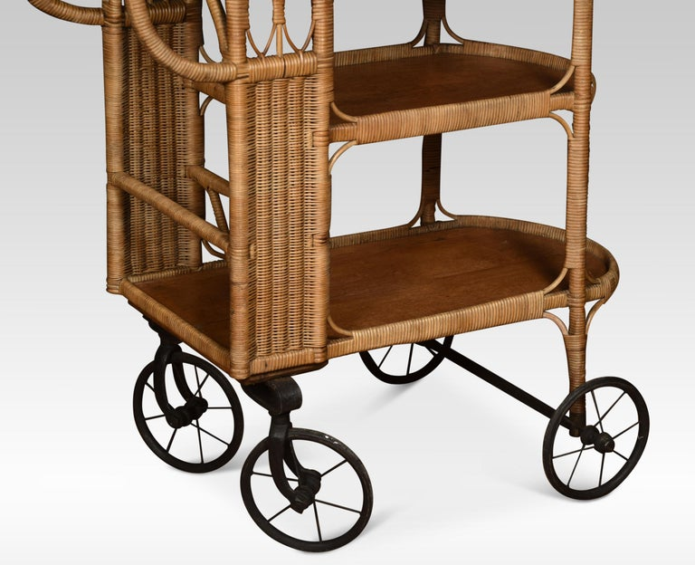 Rattan Cane and Oak Drinks Cart In Good Condition In Cheshire, GB